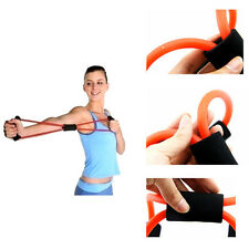 Home Sport Fitness Yoga 8 Shape Pull Rope Tube Equipment Tool Gym Orange