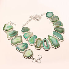 GREEN WINDOW SLICE AGATE DRZUY WITHBRACELET .925 SILVER NECKLACE 16-18""