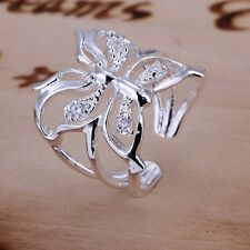 One pic Fashion Silver Plated Butterfly Band Ring Gift Jewelry