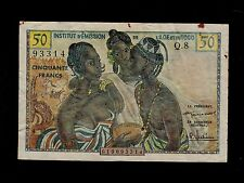 FRENCH WEST AFRICA  50 FRANCS ( 1956 )  Q8 PICK # 45 FINE BANKNOTE.