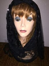 Long Black Scarf Hijab Wrap Sheer very pretty and fashionable W/tassels Last1's