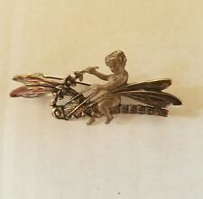 Sterling Silver Brooch With Cherub Riding Dragon Fly