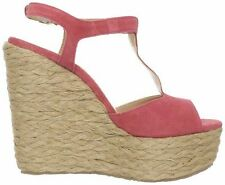 """PERUGIA SEXY RED (SIZE 10 MED. WIDTH) T-STRAP SANDALS, CHUNKY WEDGES (5"""" HEELS)"""