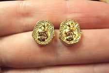 vintage little girl Pebbles gold stud earrings Avon Flintstones Hanna Barbara 94