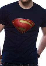Superman Man Of Steel Textured Logo Symbol T-Shirt Licensed Top Black M