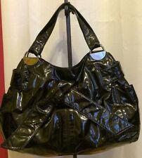 Kooba Elisha Black Patent Leather Knot Bow Double Handle Tote Shoulder bag