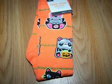 2 Pair of Girls Halloween Themed Knee High Socks Fits Shoe Size 3-10 Orange Pink