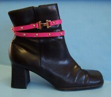 PINK LEATHER & GOLD tone STUD BOOT JEWELRY ANKLET / WRAP BRACELET / HEADBAND NEW