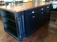 7ft Black Kitchen Island with smart trays, bookcase/trash/Pull out-HOU-28-M