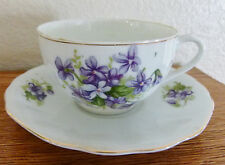 JAPAN NIPPON VIOLET PATTERN FINE BONE CHINA CUP SAUCER