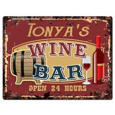 PWWB0209 TONYA'S WINE BAR OPEN 24Hr Rustic Tin Chic Sign Home Decor Gift