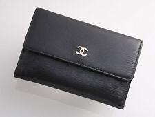 G3869 Authentic CHANEL Genuine Leather Bifold Mini Wallet *Defect