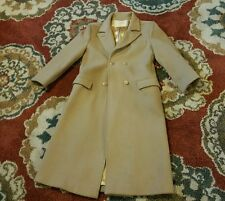 VINTAGE WOMENS PENDLETON WOOL TRENCH COAT SZ MED BEIGE USA MADE DUSTER PEA OVER