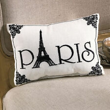 PARIS EMBROIDERED ACCENT PILLOW : BLACK WHITE FRENCH EIFFEL TOWER TOSS