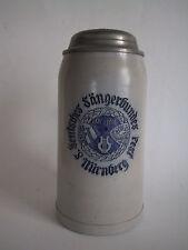 BIERKRUG DEUTSCHES SÄNGERBUNDESFEST 1912 IN NÜRNBERG ZINNDECKEL 1 L MERKELBACH