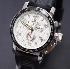 ALPHA CHRONOGRAPH SILVER PYRAMID DIAL BLACK BEZEL MANS WATCH