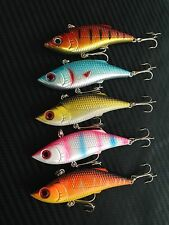 5x 10g/75mm Hardbody Vibe Vib Lure Blade Fishing Lures Bass Cod Yellowbelly BARR