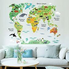 Cute Cartoon Animal & World Map Removable Wall Sticker for Child Kids Home Decor