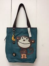 Chala Everyday Tote Shoulder Bag Turquoise Teal Monkey Banana Charm New