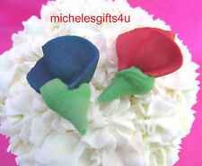 "64 - 1 1/4""  Red & Blue Edible Sugar Icing Rosebuds VOTING CUPCAKES TOPPERS"