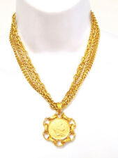 NEW DESIGNER R J GRAZIANO ROMAN COIN PENDANT GOLD TONE CHAIN 4 STRANDS NECKLACE