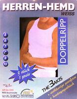 6 x Herren Weisse Unterhemden Feinripp Doppelripp Tank 100% Baumwolle