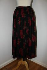 Vintage 80's Beautiful Romantic Black Red Floral Black Maxi Skirt 16 XL Gothic