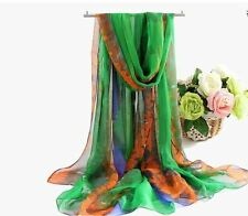 Spring Summer Women 100% Silk Soft Long Large Wrap Shawl Colorful Floral Scarf