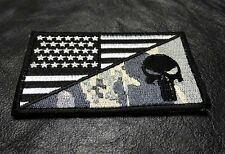 PUNISHER SKULL USA AMERICAN FLAG ARMY 3.5 INCH MORALE ACU VELCRO PATCH