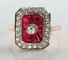 CLASS 9K 9CT ROSE GOLD INDIAN RUBY & DIAMOND ART DECO INS RING FREE RESIZE