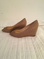 Women's Christian Louboutin Shoes Size 37.5 Nude Matatales 70 Nappa Wedge Heels