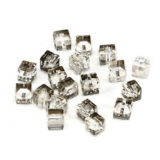 10pcs Plated gray 8mm Faceted Square Cube Cut glass crystal Spacer beads