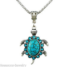 Vintage Tibetan Silver Sea turtle Turquoise With Shine Crystal Pendant Necklace