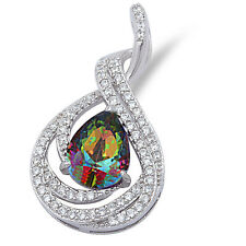 "Pear Shape Rainbow Cz & White Cz .925 Sterling Silver Pendant 1"" long"