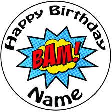 """Cumpleaños Personalizado Superhéroe-Bam Redondo 8"""" fácil Precortada Glaseado Cake Topper"""