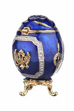 Faberge Egg Russian Coat of Arms Emperor's Crown & Arrows Trinket Box 6.5cm blue