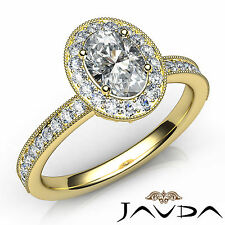 Genuine Oval Diamond Halo Pave Set Engagement Ring GIA D VS1 18k Yellow Gold 1Ct