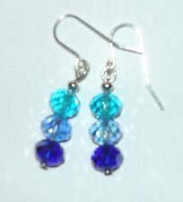 STUNNING SPARKLY SEA BLUES COLOURS FACETTED DROP EARRINGS