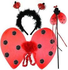 3 PC LADYBIRD DRESS UP SET WINGS WAND & HEADBAND CHILDRENS  FANCY DRESS LADY BUG