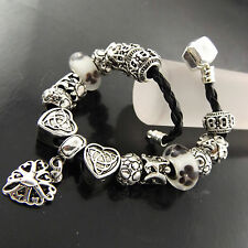 A530 GENUINE REAL 925 STERLING SILVER S/F & LEATHER CHARM CUFF BRACELET BANGLE