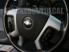 07-13  GMC / Chevy Silver Carbon Fiber Steering Wheel Spoke Overlay Decal Cover