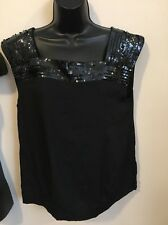 NWT Womens Black Banana Republic Sleeveless Blouse Size 12