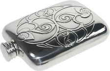 Celtic spirals 4oz Pewter Hip Flask. British Made by Wentworth of sheffield