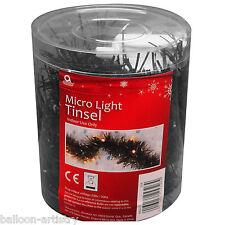 2m Christmas Party Black Micro Light Lights Tinsel Garland Decoration