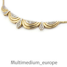 Silber Collier vergold. Halskette Strass necklace silver gilt paste im Art Deco