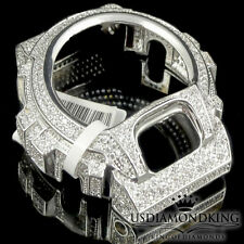 MENS WOMEN CUSTOM G-SHOCK BEZEL 14K WHITE GOLD WHITE DIAMOND SIMULATED WD 6900