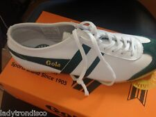 GOLA CLASSIC 40TH ANNIVERSARY EDITION HARRIER GREEN & WHITE TRAINERS - SIZE 7