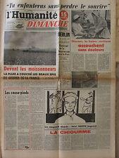 L'Humanité Dimanche (5 août 1951) Moissonneurs - Tour de France-Scaphandrier-