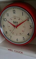 ROUND KITCHEN CLOCK RETRO VINTAGE DINER BRIGHT RED WALL CLOCK NEW