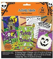 30 Halloween Childrens Activity Sheets - Halloween Party Favors Trick or Treat